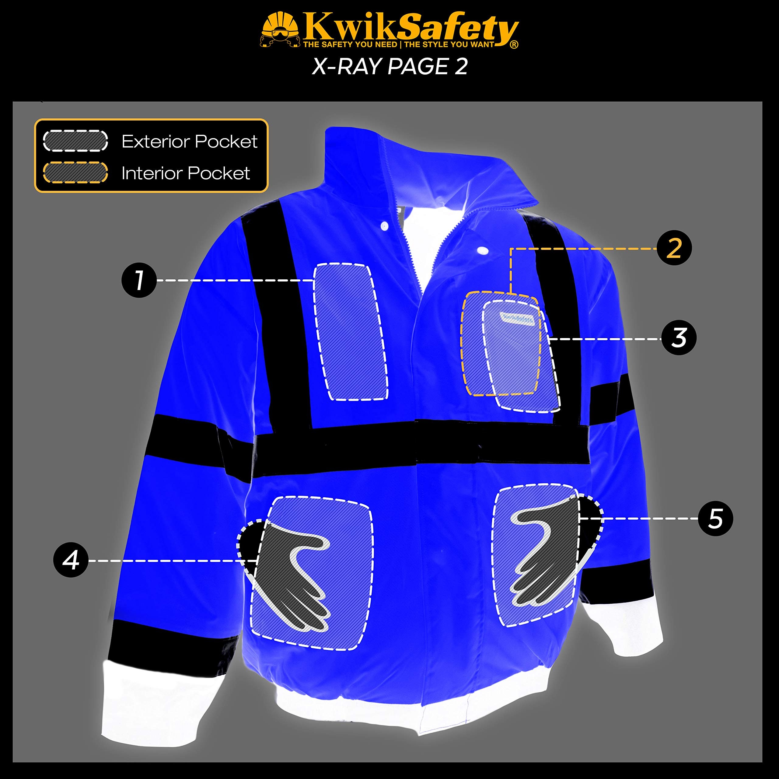 KwikSafety (Charlotte, NC) GUARD   Class 3 Black Cuff Safety Bomber Jacket   High Visibility ANSI OSHA PPE   Foldable Hood Reflective Winter Water Resistant Construction Workwear Men   X-Large by KwikSafety (Image #8)
