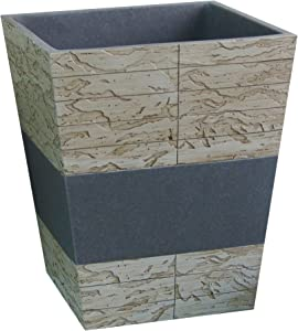 nu steel Nusteel Rustic, Made of Cement Small Trash Can Wastebasket, Garbage Container Bin for Bathrooms, Powder Rooms, Kitchens, Home Offices, Antique Stone Finish