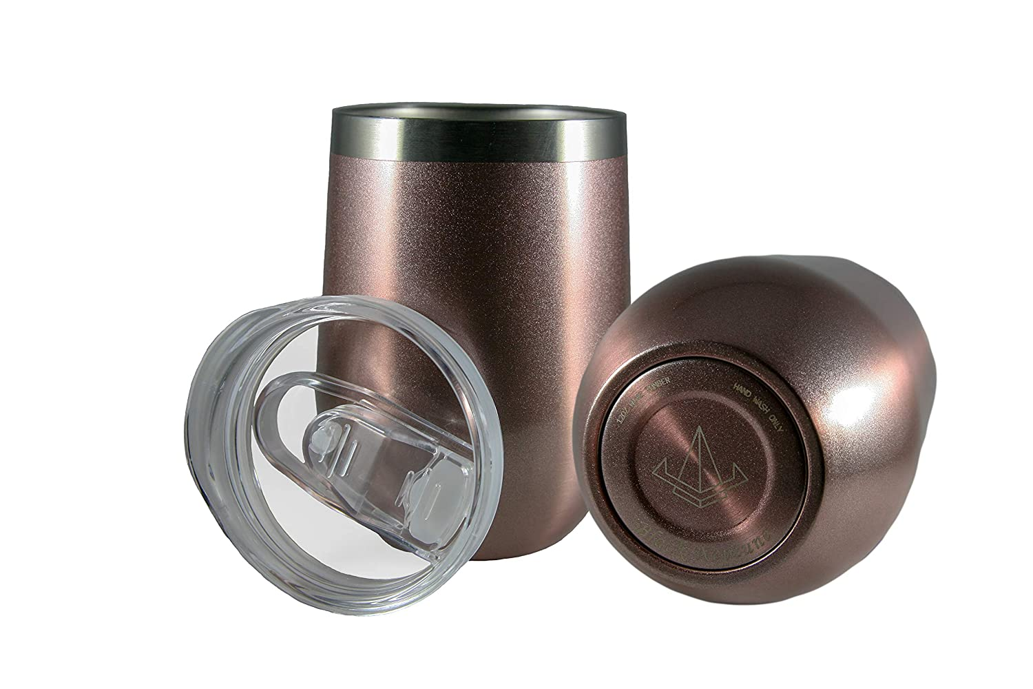 Perfect for any Drink and Occasion 9 Hr Cold Drinks//3 Hr Hot Drinks Spill Resistant Lid Durable Stainless Steel Black Neptune 12 oz Double Vacuum Insulated Stemless Wine Tumbler w//Sliding Lid