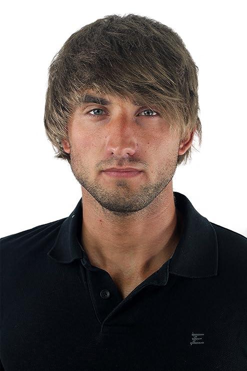Peluca masculina, para hombre, corto, juvenil, color rubio oscuro, deportivo,