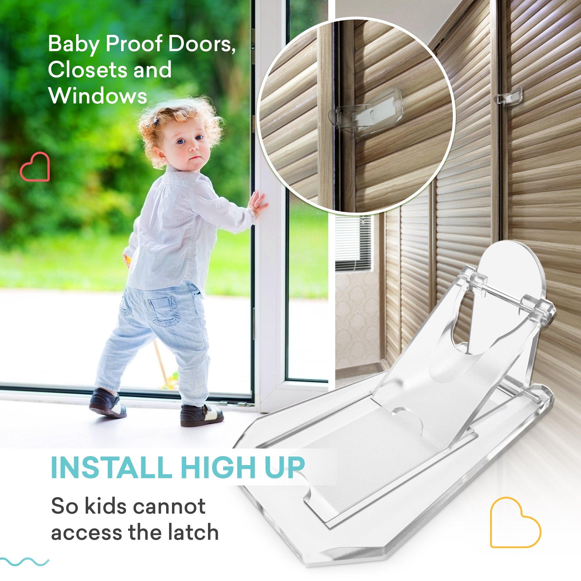sliding door lock baby proof closets window locks for children clear 4 pack 627843629702 ebay. Black Bedroom Furniture Sets. Home Design Ideas