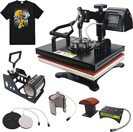 CE Sublimation DIY T-Shirt Hat Mug Plate Cap and More Swing Away Heat Transfer Presses PlanetFlame Factory 12x15 Combo 5 in 1 Heat Press Machine