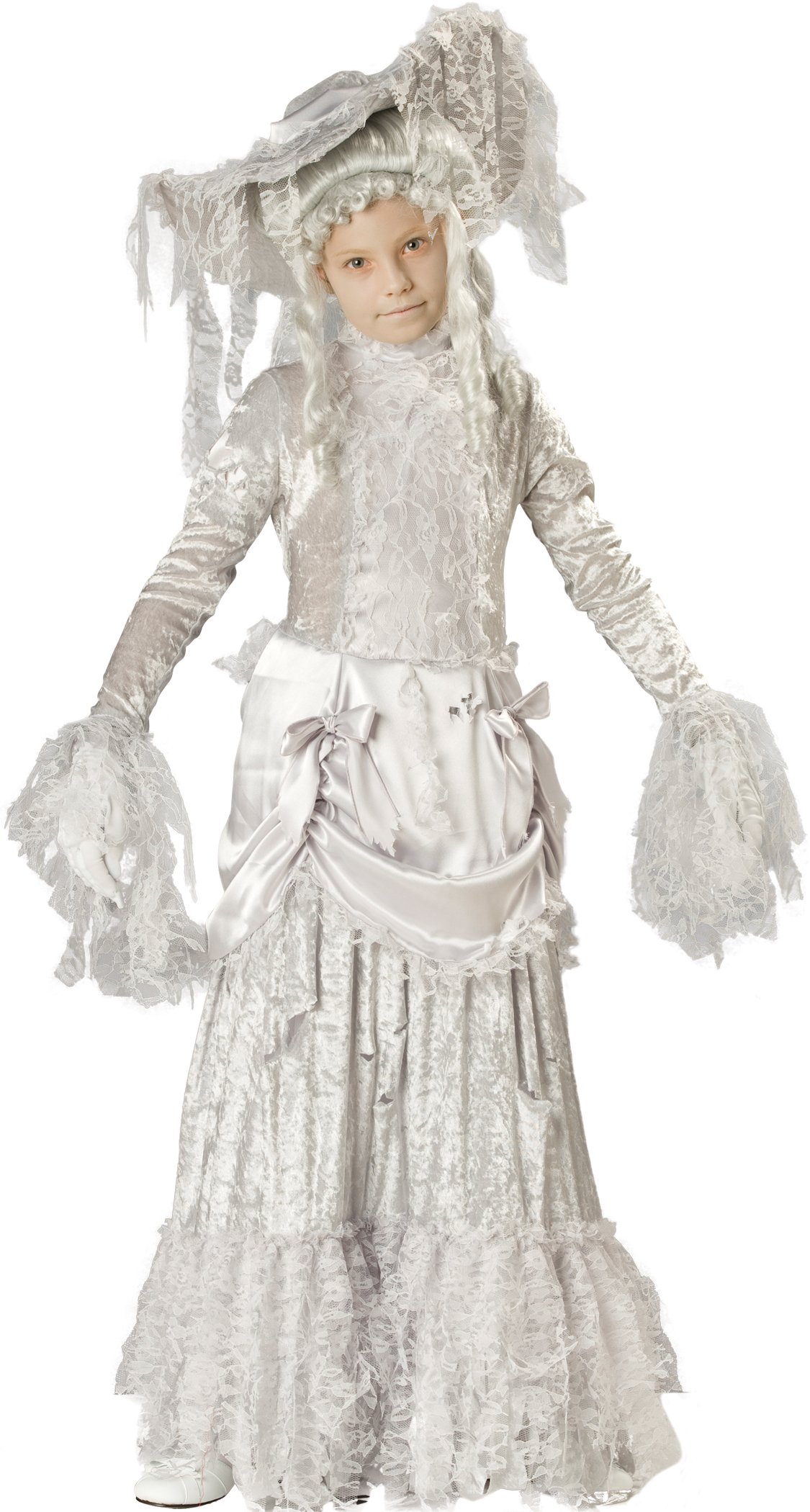 InCharacter Costumes, LLC Little Girls' Ghostly Lady Tattered Dress Set, White, 6 by Fun World (Image #1)