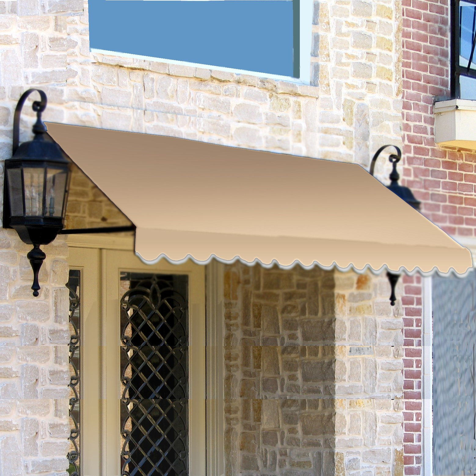 Awntech 5-Feet Dallas Retro Window/Entry Awning, 44 by 48-Inch, Linen