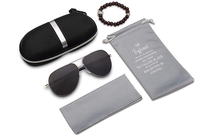 Amazon.com: Gafas de sol polarizadas de aviador para hombre ...