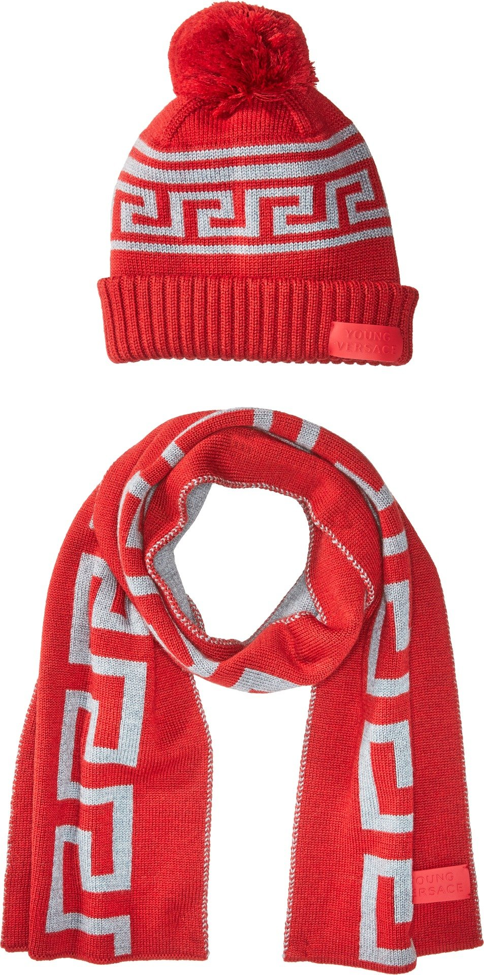 Versace Kids  Baby Boy's Greca Hat & Scarf Set (Toddler/Little Kids) Red/Grey 6A by Versace