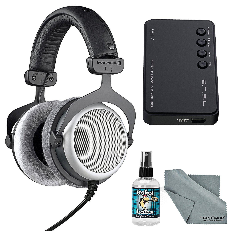 Beyerdynamic DT 880 PRO 250 Ohm Headphones with Amplifier + Cleaner + Fibertique Cloth Bundle