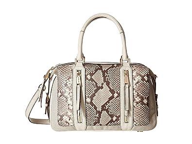 5317e09721ce MICHAEL Michael Kors Womens Julia Leather Satchel Handbag Gray Medium