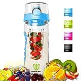Wasserflasche, Degbit [BPA-freiem Tritan] Kunststoff Trinkflasche Sport, Flasche ca. 1L, Sportflasche Auslaufsicher, Trinkflaschen BPA Frei Infuser mit Verschluss & Tragehenkel, Wasserflasche