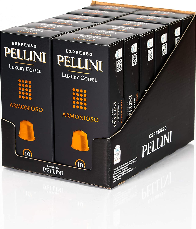Pellini Caffè, Espresso Pellini Luxury Coffee Armonioso, Compatible Con Máquina Nespresso - 12 Paquetes de 10 Cápsulas (120 cápsulas)