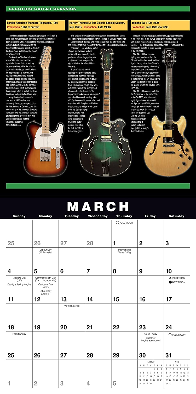 Electric Guitar Classics 2018 Wall Calendar Ca0130 Jawbone Press