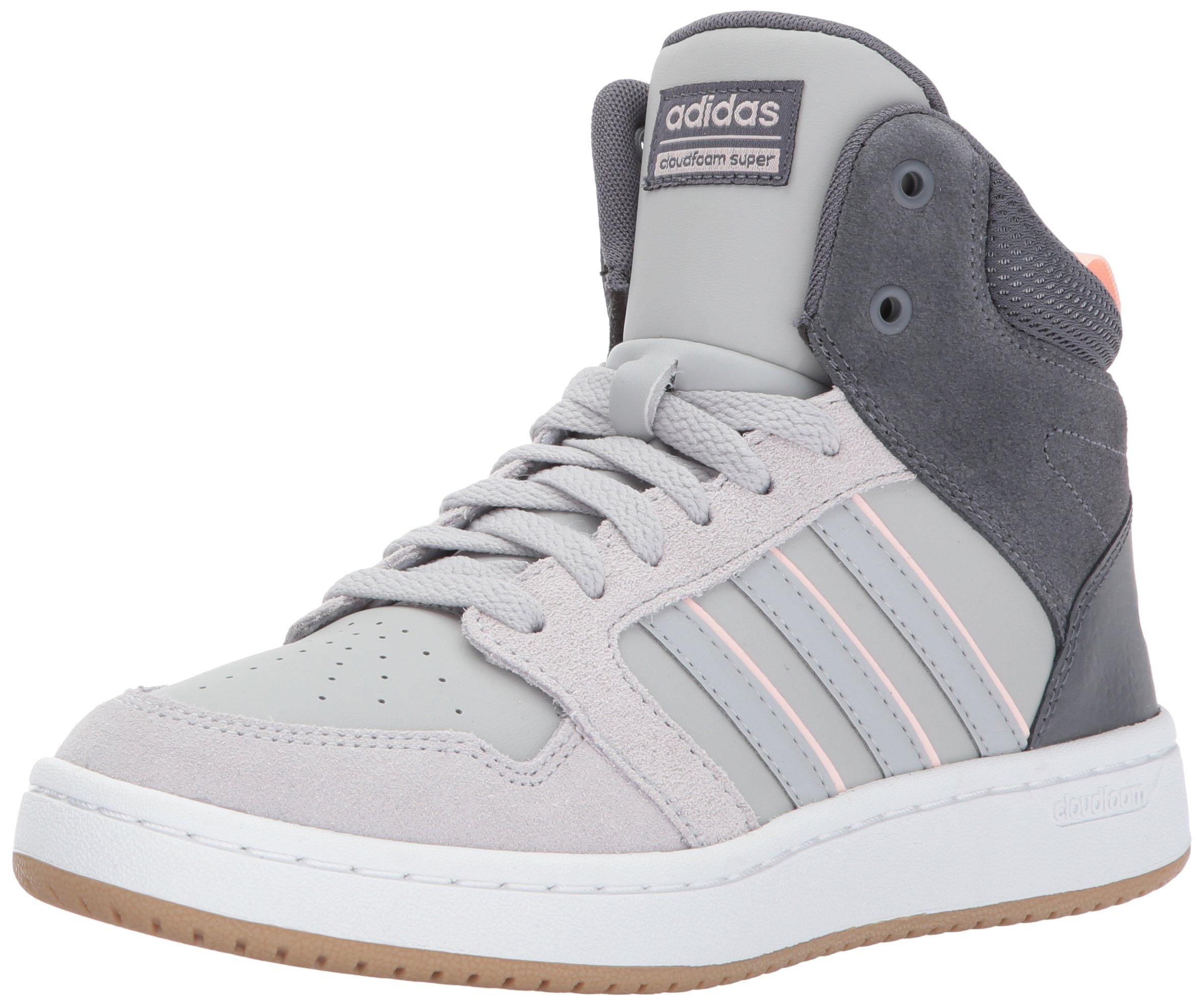 adidas Neo Women's CF Superhoops Mid W Basketball-Shoes, White/White/Matte Silver, 10 M US