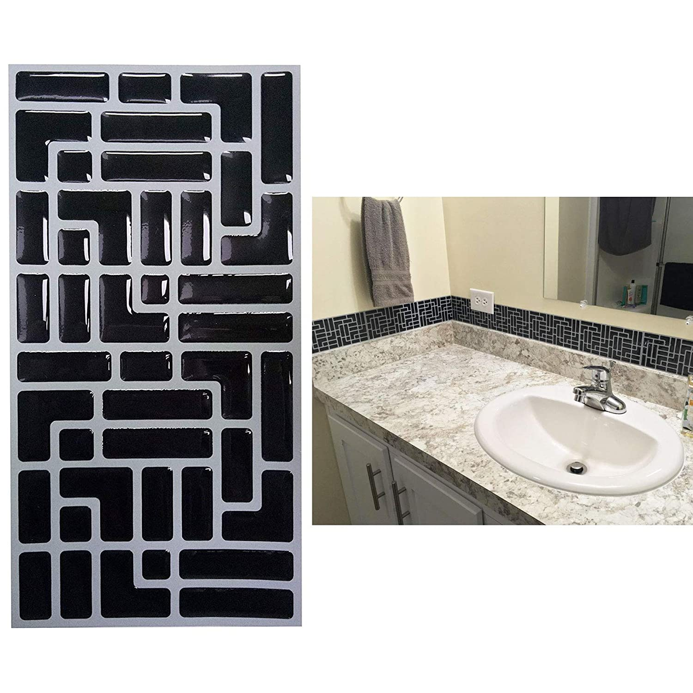 Premium Anti Mold Peel & Stick Tile Backsplash in Black Subway Easy self-Adhesive Stick on 3D Backsplash Wall Tiles Kitchen, Bathroom Home Improvement (4'x8',10 Sheets) Bathroom Home Improvement (4x8 Besttile1