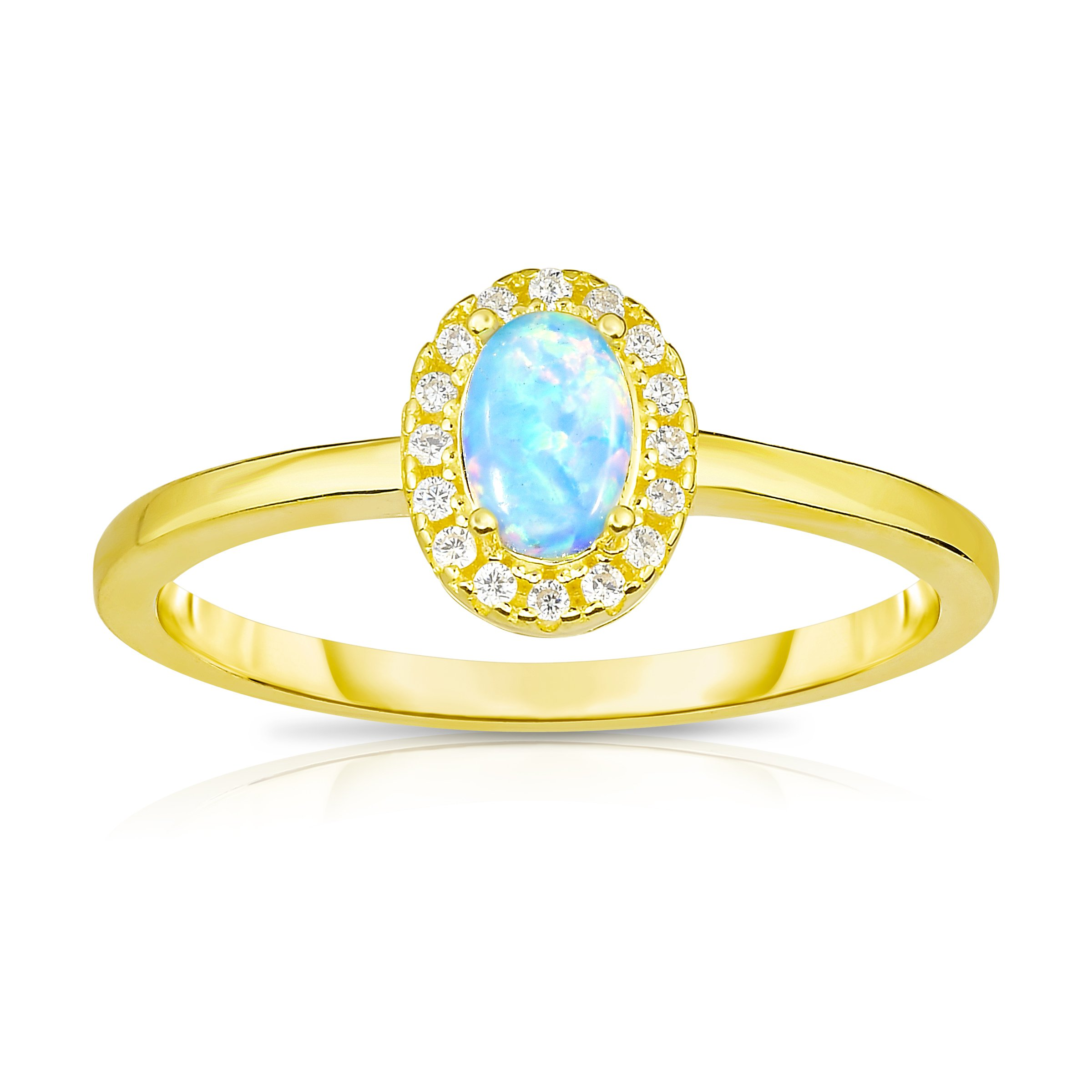 Unique Royal Jewelry 14K Yellow Gold Plated Sterling Silver Synthetic Opal with White Cubic Zirconia Halo Jacket Princess Diana Designer Ring. (8)