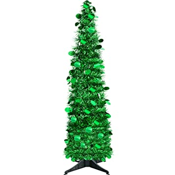 Yuqi 5 Ft Pop Up Artificial Tinsel Trees Collapsible With Stand 70 Reusable For Christmas