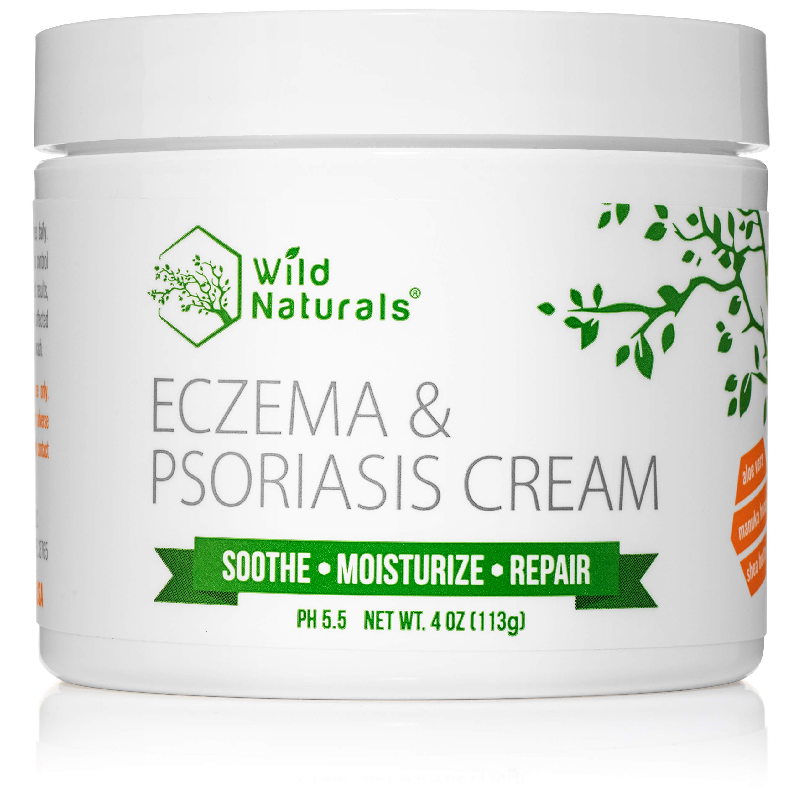 Wild Naturals Eczema Psoriasis Cream - for Dry, Irritated Skin, Natural 15-in-1 Lotion Soothes, Moisturizes, and May Visibly Reduce The Appearance of Redness, for Adults, Kids, and Baby, Steroid-Free