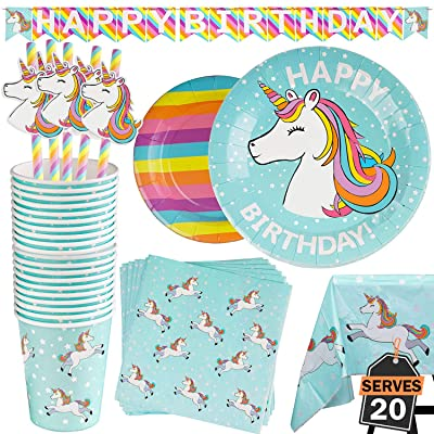 102 Piece Rainbow Unicorn Party Supplies Set Including Banner, Plates, Cups, Napkins, Straws, and Tablecloth, Serves 20: Toys & Games