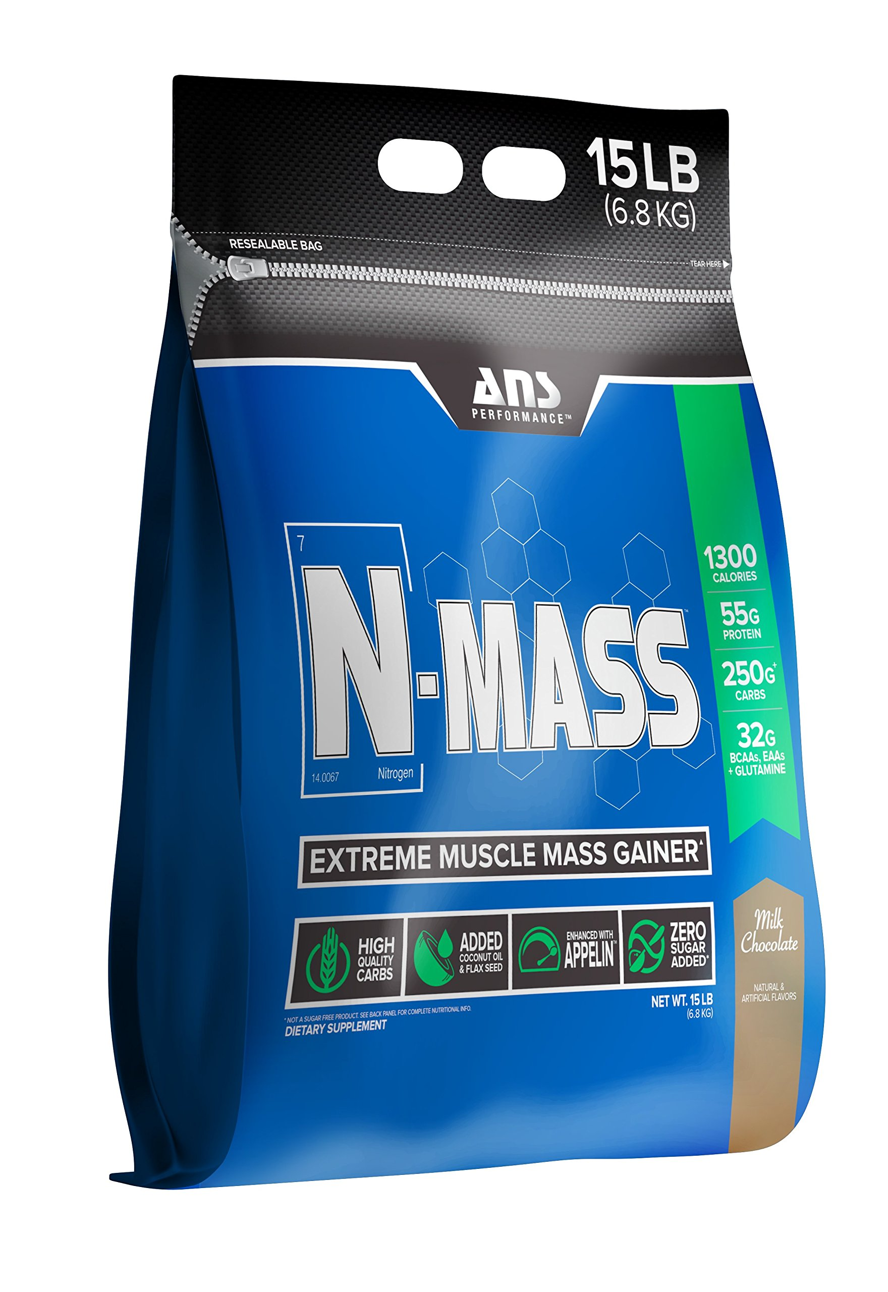ANS Performance N-Mass Muscle Mass Gainer, Premium Mass Builder For CLEAN (quality) Gains, Milk Chocolate, 15 Pounds