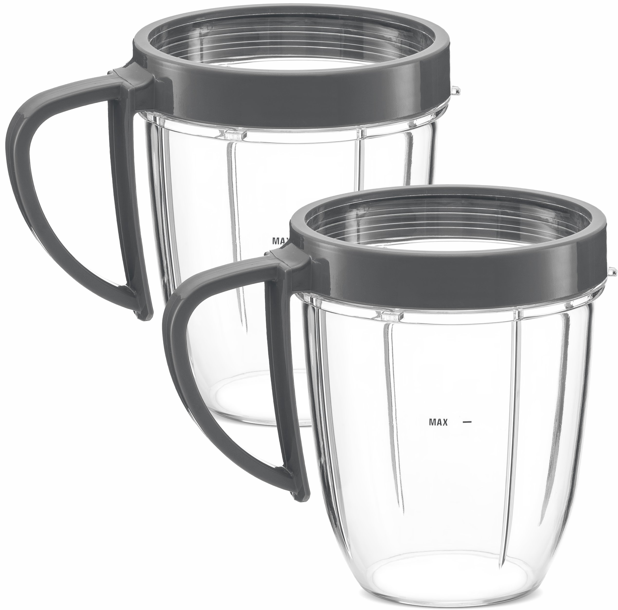 NUTRiBULLET 18-Ounce Cups with Handel and Screw-Off Lip Ring by NutriGear (Pack of 2) | NutriBullet Replacement Parts & Accessories | Fits NutriBullet 600w and Pro 900w Blender