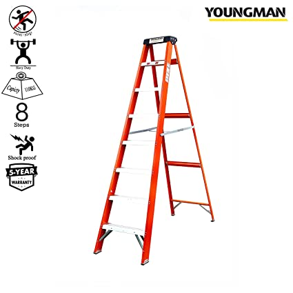 Youngman Fiber Glass 8 Step Electric Shock Proof Foldable Ladder with Tool Tray for Professional & Home Use -Capacity Upto (150 Kgs) (Orange, 7. 8ft)