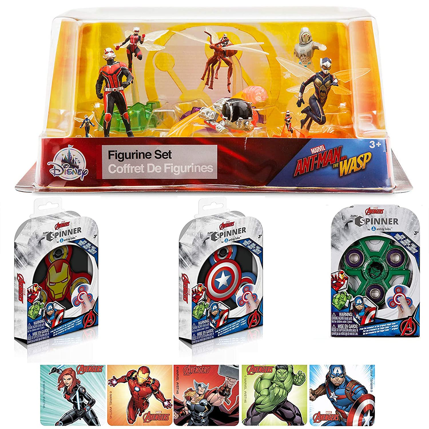 Stickers Magnify The Super Action Fun Marvel Ant-Man /& Wasp 6 Figure Hero Collection Playset QuantumPod /& Avengers Iron Man Hulk /& Captain America Team Toy Pack