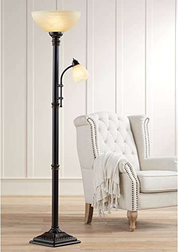 Garver Traditional Torchiere Floor Lamp 2-Light Oiled Rubbed Bronze Amber Glass Shade