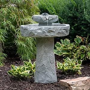 Stone Bird Bath, Rustic Solar Outdoor Bird Bath,2 Tier Patio Decor Rock Fountain, Pedestal Birdbath Bowl Stone Fountain Pump for Garden, Backyard, Lawn