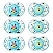 Tommee Tippee Closer to Nature Fun Style Soothie Baby Pacifier, 6-18 Months - Boy, 6 Pack