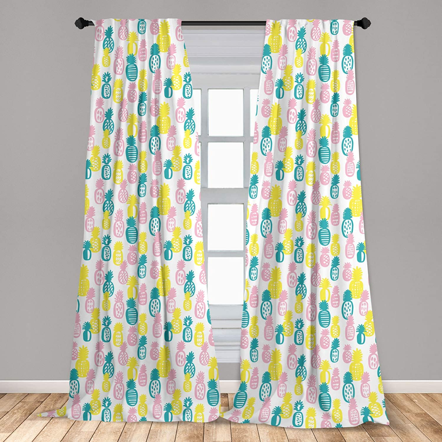 Ambesonne Pineapple Curtains, Colorful Doodle Food Design with Abstract Patterns Stripes Dots and Rhombuses, Window Treatments 2 Panel Set for Living Room Bedroom Decor, 56