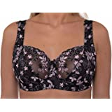 Ladies Black Pink Embroidered Large Bosom Lace Underwired Firm Bra Plus Size Cup