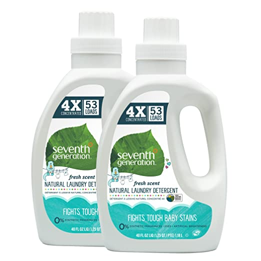Seventh Generation Natural Baby Laundry Detergent 106 loads (Pack of 2 40oz each)