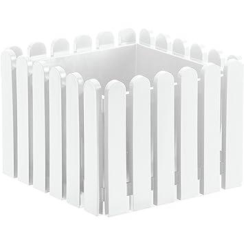 Emsa 846381200 Landhaus Blumenkübel 38 x 38 cm weiß: Amazon.de: Garten