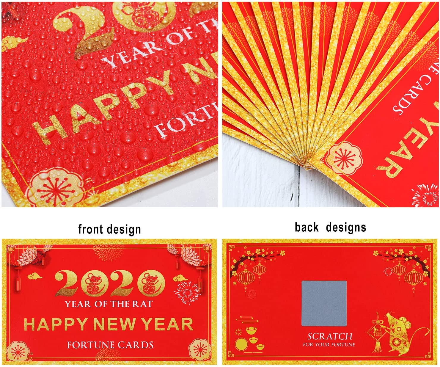 BBTO 30 St/ück 2020 Neujahr Gl/ückskarten Kratzen Gl/ückskarten Jahr der Ratten Karten f/ür Party Lieferung zum Neujahr
