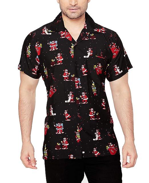 CLUB CUBANA Xmas Camisa Hawaiana Florar Casual Manga Corta Ajustado para Hombre S