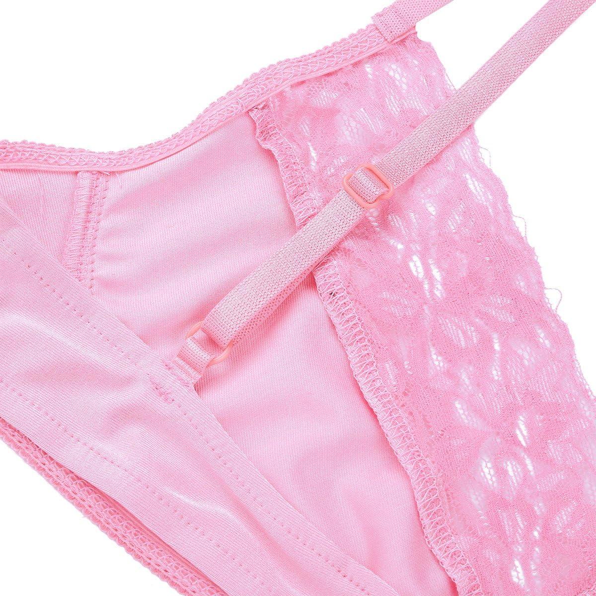 Agoky Sujetador Hombre Encaje Lencer/ía Adulto Ropa Interior Sissy Atractivo Chico Ropa de Dormir Bikini Tops Er/ótica Sensual para Noche Negro//Rosa