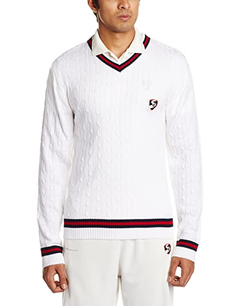 536d1f195547af Buy SG Icon Full Sleeves Cricket Sweater (White) Online at Low Prices in  India - Amazon.in