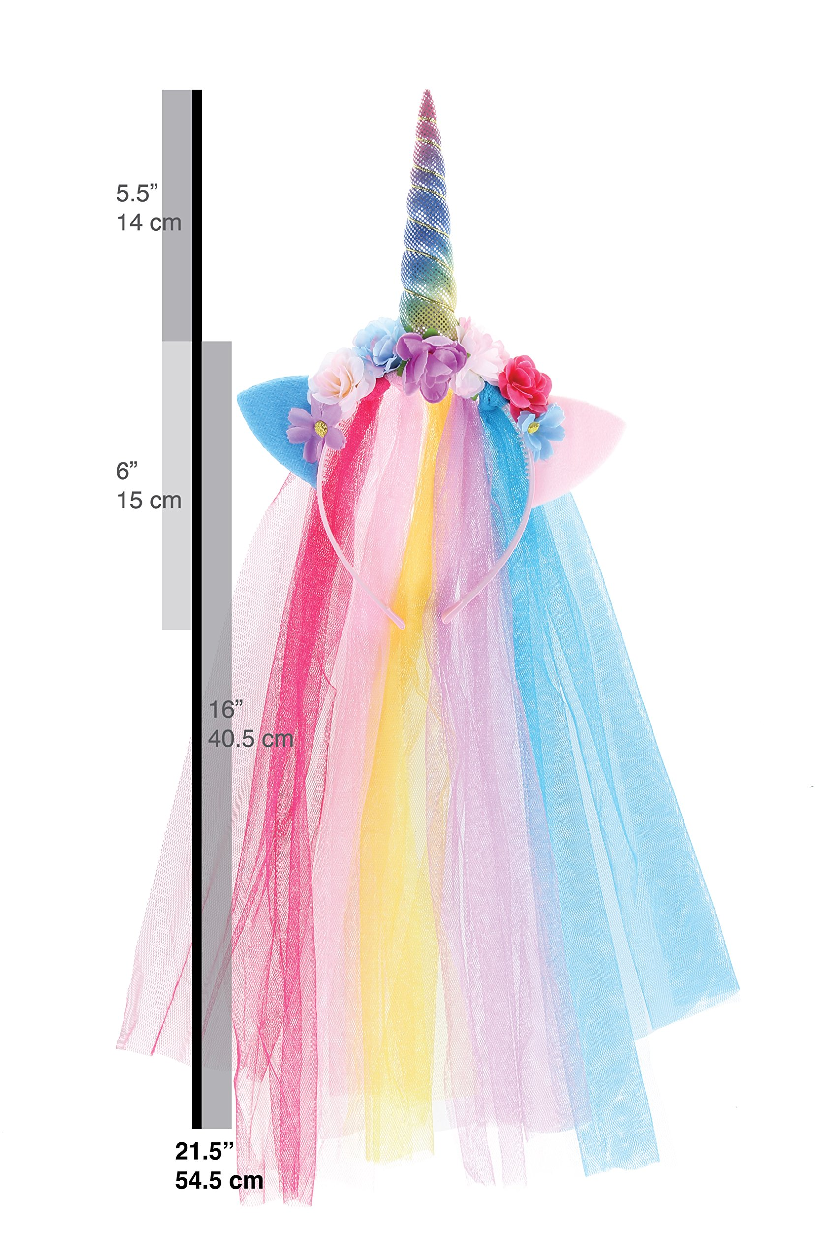 Rainbow Unicorn Headband With Tulle Mane Featuring A Rainbow Horn, Pastel Cat Ears, and Flowers
