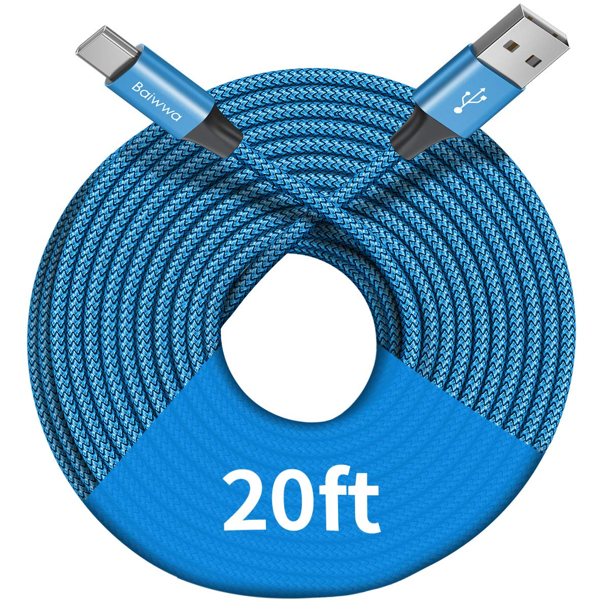 1 Cable Trenzado USB-A a USB-C 6mt Baiwwa -L7JS