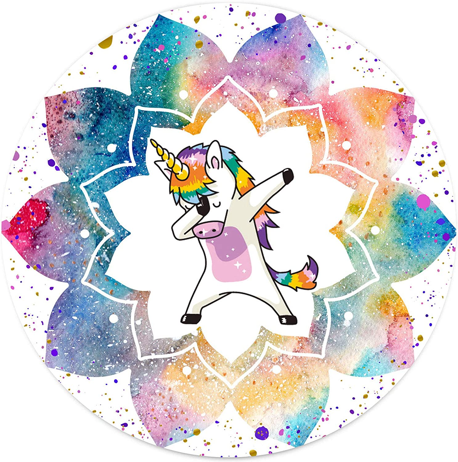 Unicorn Round Mouse Pad for Kids, Funny Dancing Meme Cosmic Galaxy Watercolor Rainbow Mandala Colorful Flower Mousepad for Laptop Computer Gaming Home Office