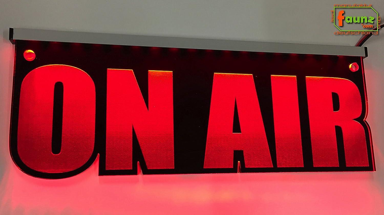 Cartel luminoso LED de vidrio acr/ílico grabadoOn Air rojo opaco incluye fuente de alimentaci/ón 230-12 V radio de estudio color montaje a elegir corte de contorno