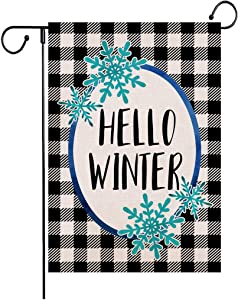 Wencal Buffalo Check Plaid Hello Winter Garden Flag Snowflake Farmhouse Double Sided Outdoor Decorations 12.5 x 18 Inches