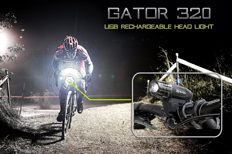 Buy Super Bright Usb Rechargeable Bike Light Blitzu Gator 320