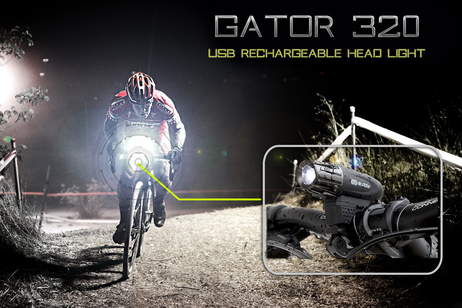 BLITZU Gator 320 USB Rechargeable Bike Light Set Powerful Lumens Bicycle Headlight Free Tail Light, LED Front and Back Rear Lights Easy to Install for Kids Men Women Road Cycling Safety Flashlight by BLITZU (Image #9)