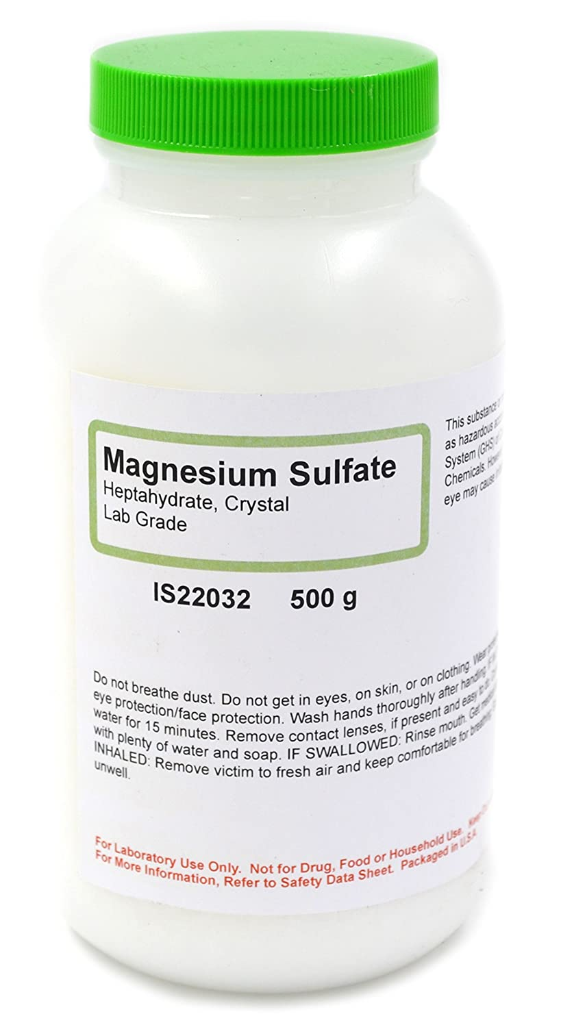 Magnesium Sulfate Crystals, 7-Hydrate, 500g - Laboratory Grade - Excellent for Mixing Magnesium Solutions - The Curated Chemical Collection by Innovating Science