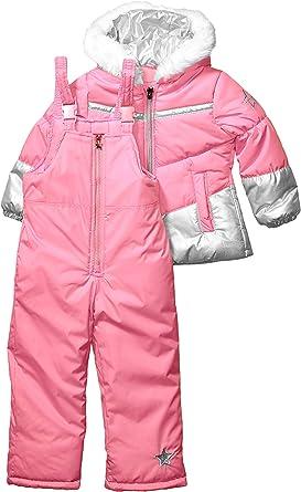 LONDON FOG Combinaison de neige pour bébé fille avec bavoir à neige et veste soufflante - Rose - 6X