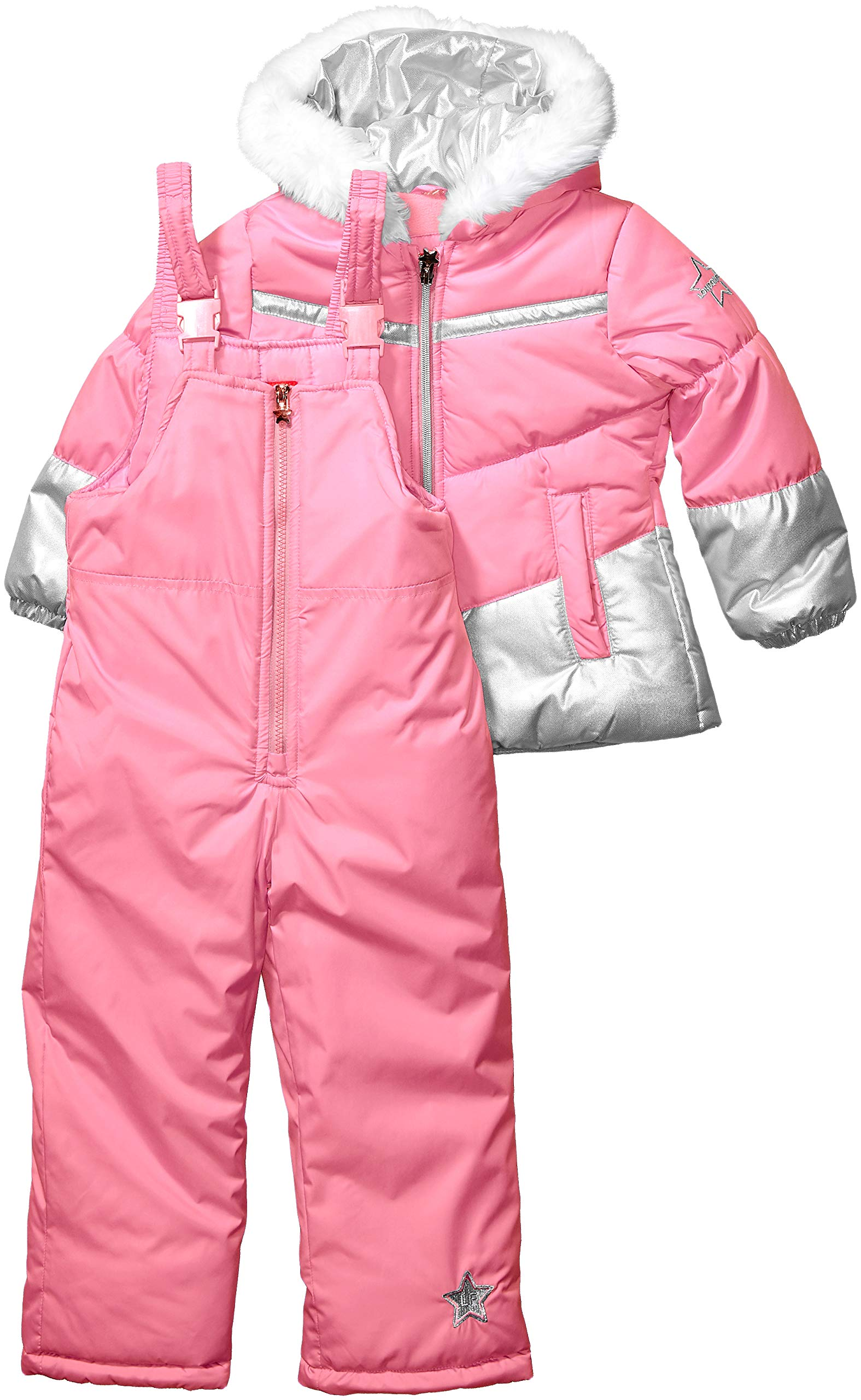 LONDON FOG Girls' Toddler Snowsuit with Snowbib and Puffer Jacket, Unicorn Rose Gold Foil, 4T