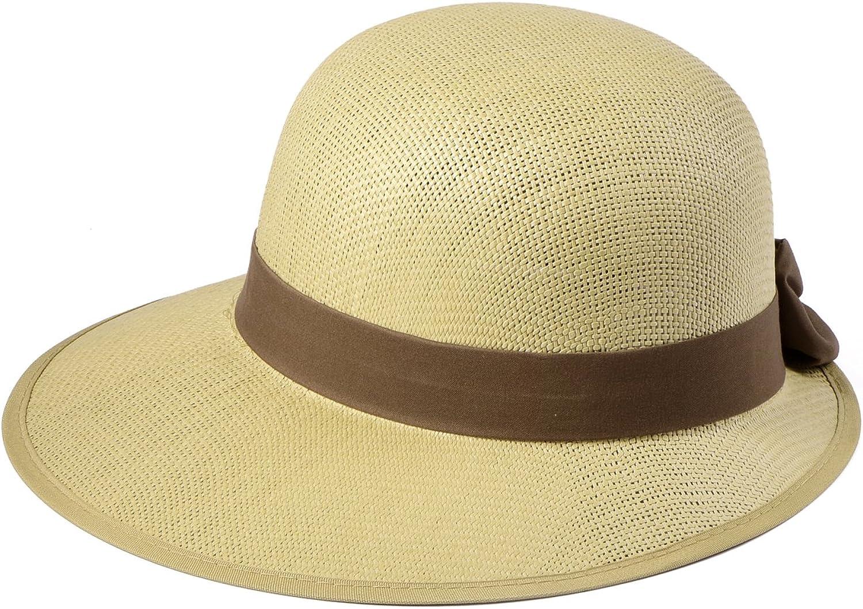Miuno/® Damen Sonnenhut Partyhut Stroh Hut Schleife H51011