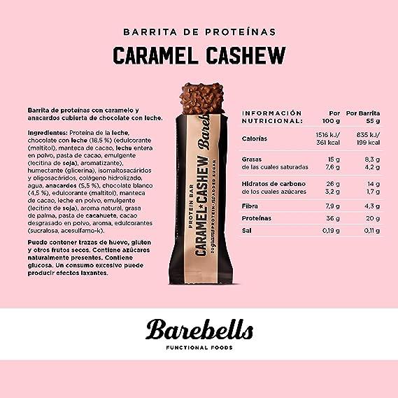Barritas de proteínas Barebells Caramel Cashew 12 x 55g, rica en proteínas, baja en carbohidratos y en azúcar, 20g proteína por barrita