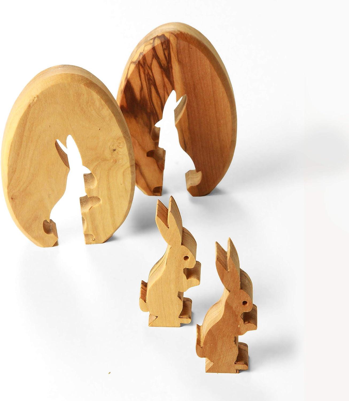 KASSIS Olive Wood Easter Bunny in Egg 7 cm made in Bethlehem