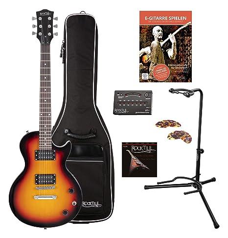 Rocktile Guitarra eléctrica L-100 SB (con funda, afinador, soporte ...